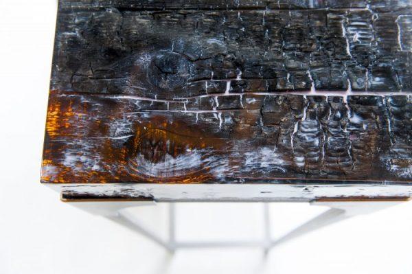 epoxy tafel industrieel sokkel verkoold hout